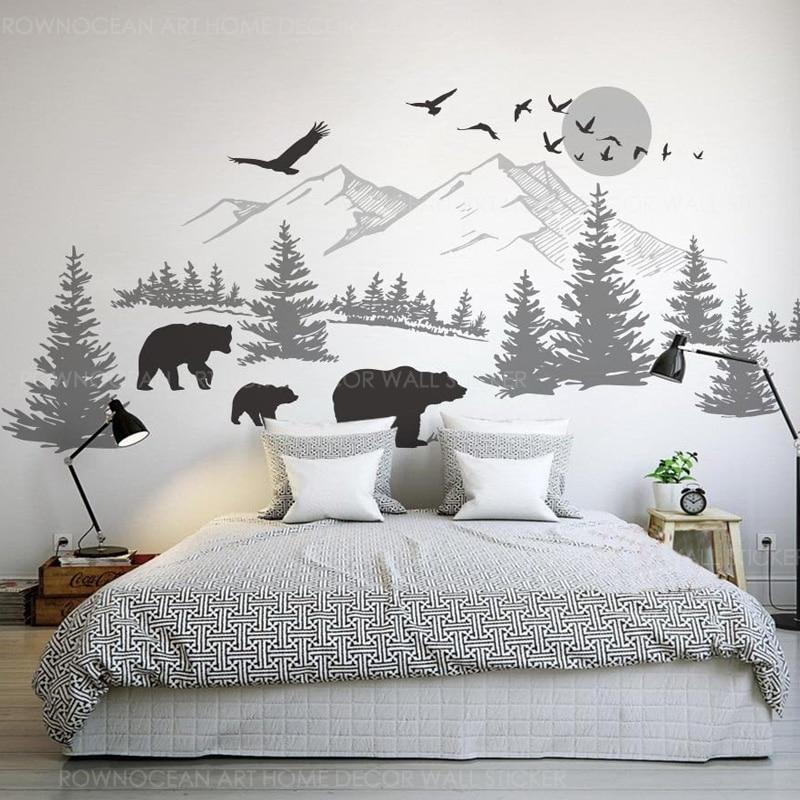 Mountain Landscape Wall Vinyl Sticker With Bear Family, Pine Tree Wall Art For Nursery Wallpaper DIY Murals 3907