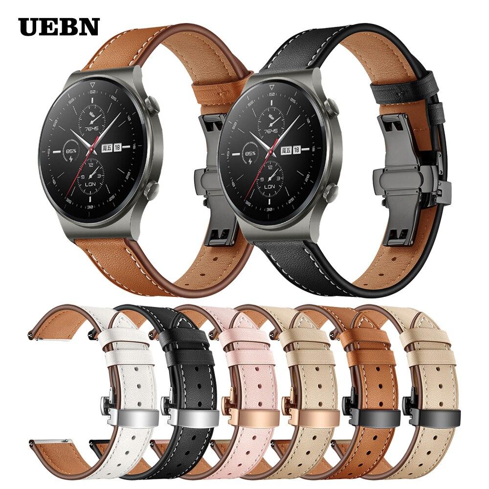 UEBN Butterfly clasp Leather strap for Huawei Watch GT 2 Pro Bracelet for Watch GT 2 42mm 46mm & 2e Watchbands Correa ремешок