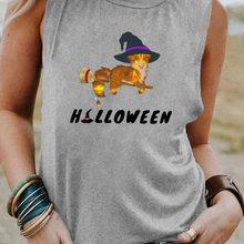 Magic Cat Print Women's Tshirt New Arrival Halloween Sleeveless Shirt Women Funny Summer Casual Slee