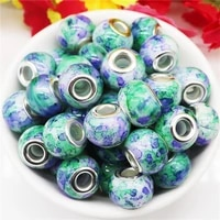 20 pcs blue green color flower glass beads large hole glass beads spacer charms fit european pandora bracelet women diy jewelry
