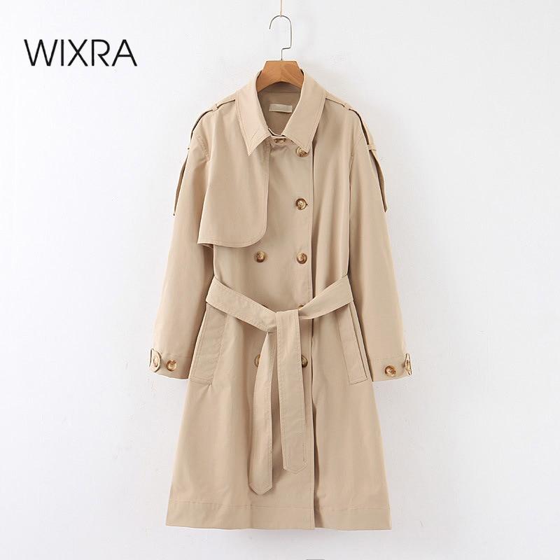 Wixra-معطف واق من المطر مع أحزمة للنساء ، معطف طويل كاكي أساسي مزدوج الصدر ، سترة واقية أنيقة للنساء