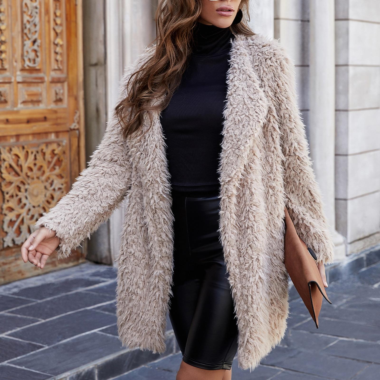 Chaqueta larga de pelo de cordero para Mujer, abrigo de moda con...