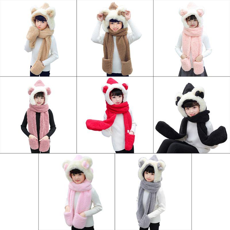 Kids 3 In 1 Warm Plush Winter Hat Cute Bowknot Bear Ears Scarf Gloves Hoodie Cap KLV 2019 New