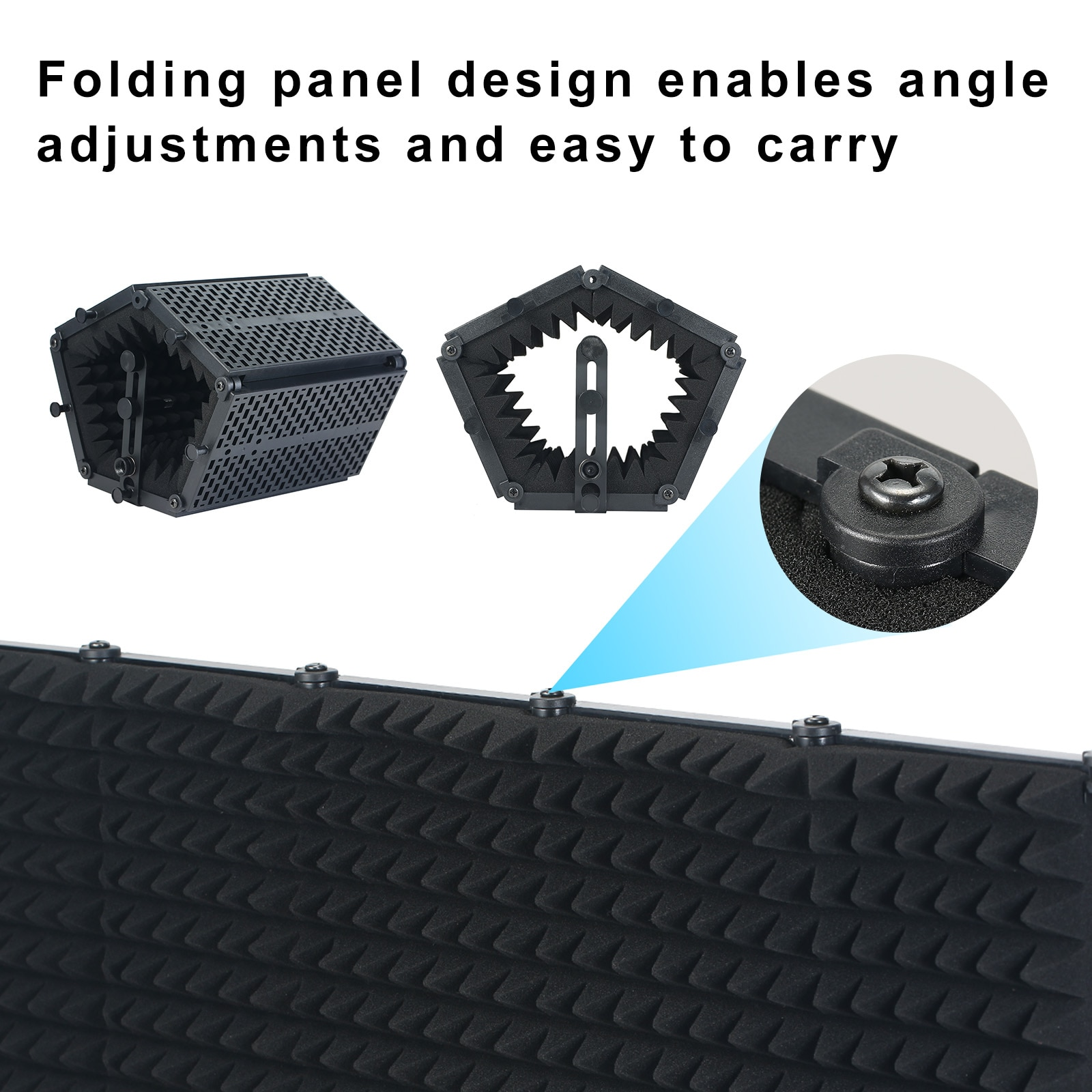 Professional 5Panel Foldable Microphone Isolation Shield Wind Screen for Recording Studio Foldable High-Density Absorbing Sponge enlarge