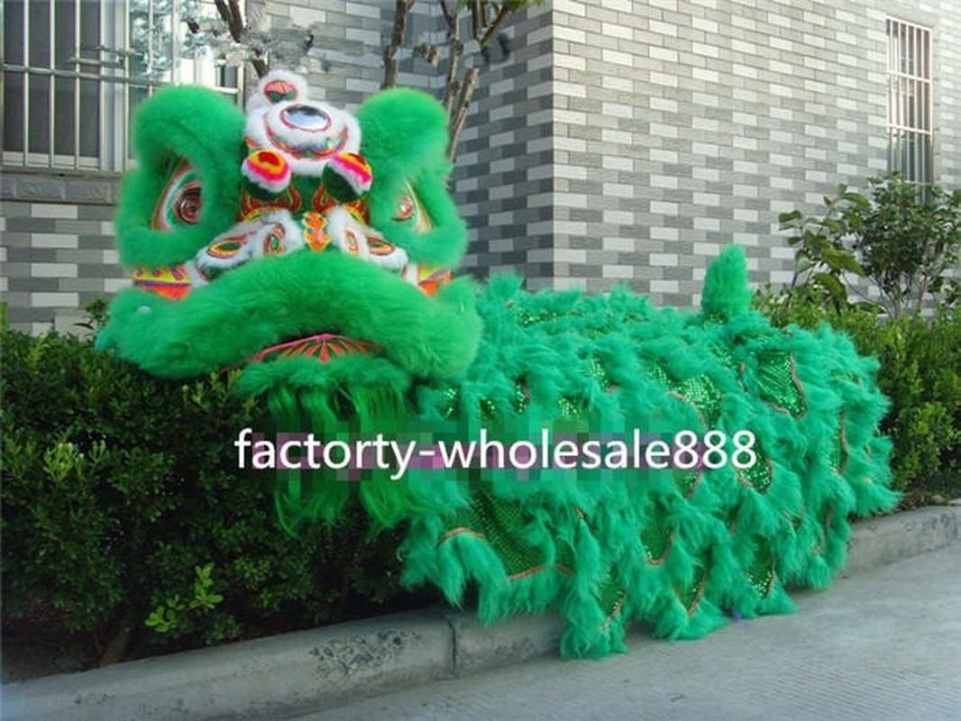 أزياء تنكرية للرقص مصنوعة من الصوف الطبيعي 100% على شكل أسد فن شعبي صيني لراشدين ملابس دعائية للهالوين عرض ساخن