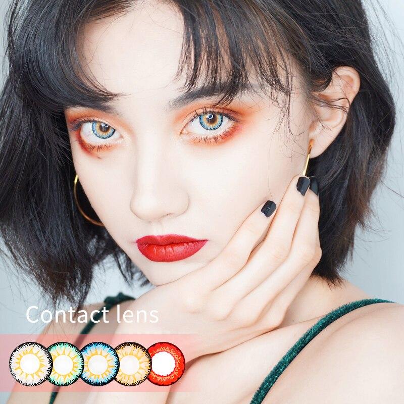 Hermosas lentes de contacto de Color pupila, camino femenino mensual, 14,5mm, bonito regalo Multicolor para fiesta, decoración de Cosplay de dibujos animados para chicas