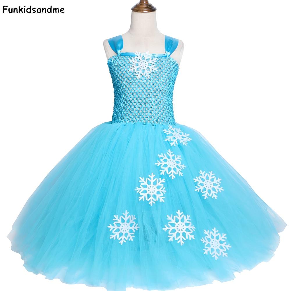 Sky Blue Girls Elsa Tutu Dress Snowflake Tulle Princess Dress Kids Birthday Party Dress Girls Halloween Christmas Costumes 2-12Y