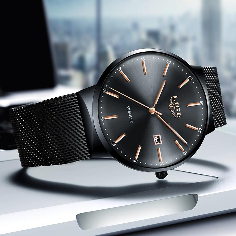 LIGE Brand Ladies Black Quartz Clock Gift Stainless Steel Watch Casual Female Sports Watch For Women Relogio Feminino Reloj Muje enlarge