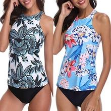 2020 Sexy maillots de bain femmes Tankini grande taille deux pièces maillot de bain maillot de bain grande taille Push Up haut cou maillot de bain Femme XXL