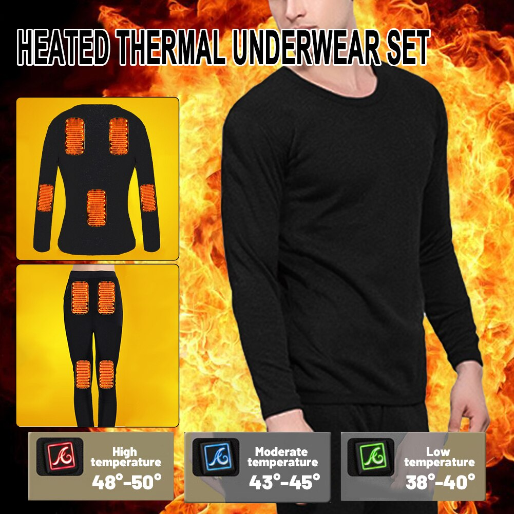 Men Motorcycle Heated Jacket Electric USB Heated Thermal Underwear Set Heated Thermal Long Sleeve tops Pants set for Winter