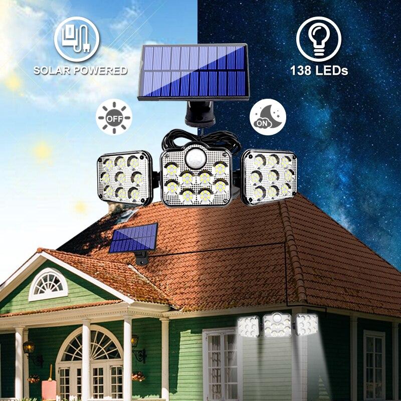 54/122/138 LED Solar Lights Outdoor Motion Sensor Solar Powered Flood Light Remote Control Waterproof Super Bright Wall Light