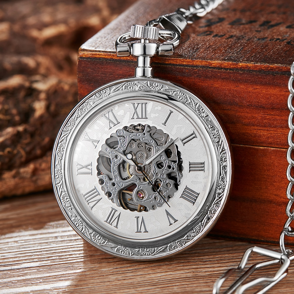 Retro plata esqueleto dorado Steampunk relojes de bolsillo mecánicos números romanos cuerda de mano Fob cadena reloj colección regalo