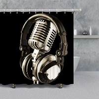 microphone shower curtain for bathroom decoration music theme musical instrument microphone and headphone black room curtain
