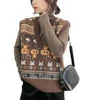 beautana knitted vest for women 2021 autumn cartoon v neck sleeveless pullover sweater fashion knitting yarn ribbed tank top