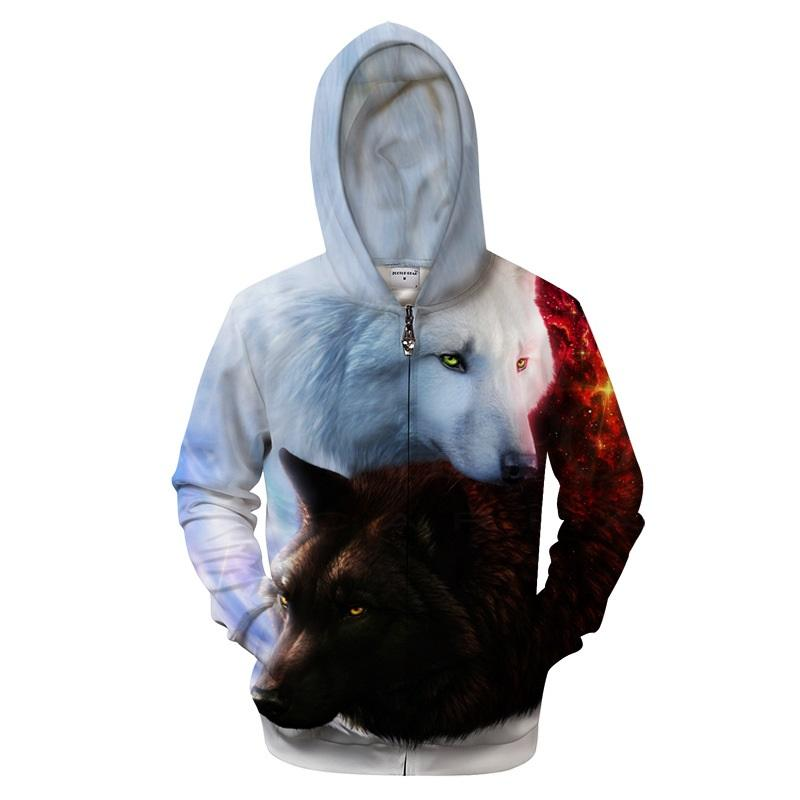 3D printed black and white Wolf hoodies, printed dragon cat cookies, hoody Zipper Regular pocket mens and womens pullovers