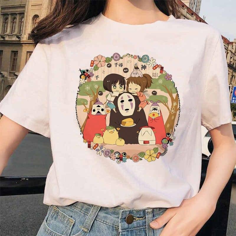 Женская футболка с рисунком Миядзаки Хаяо, футболка с рисунком из мультфильма Харадзюку Тоторо, футболка с рисунком из мультфильма, 90s