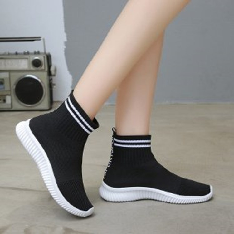 Socks stretch women's single shoes new foot solid color women's shoes casual women's high top women's sports shoes all-match hot