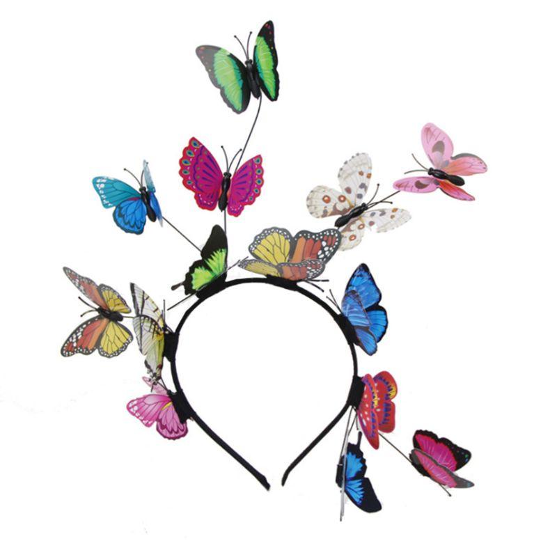 Diadema de hada del bosque para mujer niñas, diadema colorida, mariposas, insectos, pelo salvaje, aro, tocado de foto de bosque