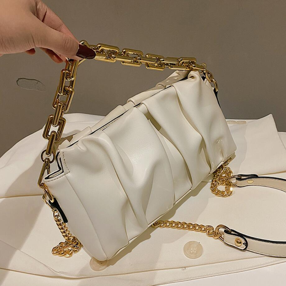 Solid color Pleated Tote bag 2020 fashion new high-quality PU leather Women's Designer Handbag Chain Shoulder Messenger Bag
