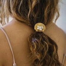 Élégant coquille de mer forme incrusté strass épingle à cheveux pour les femmes bohême embelli Imitation perle pinces à cheveux chapeaux accessoires