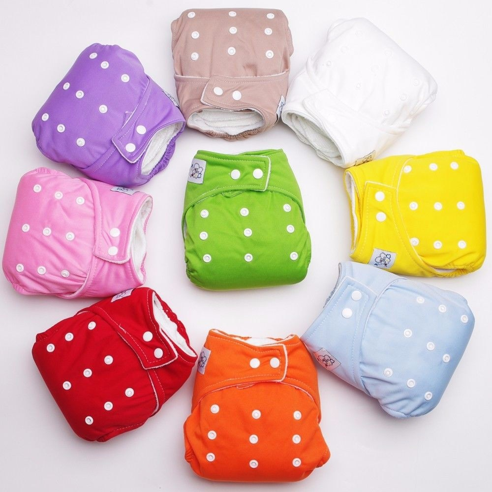 50pcs Adjustable Reusable Baby Cloth Diapers Soft Covers Infant Washable Nappies Wholesale Boy Girls Daiper Insert