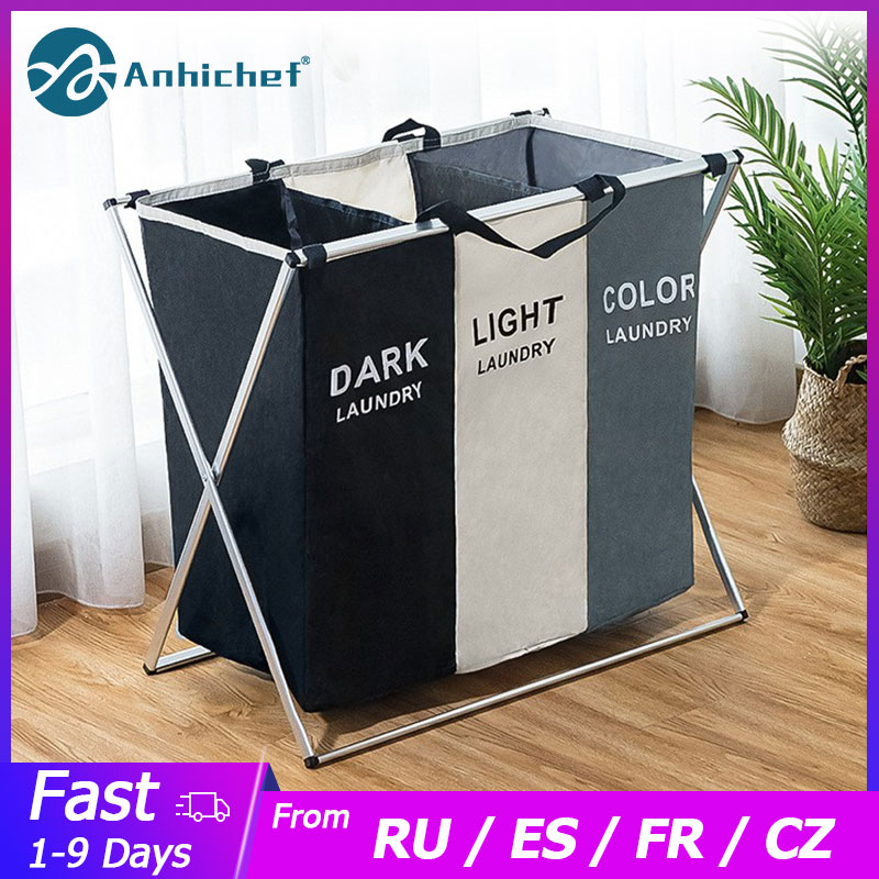 Cesto para la ropa sucia plegable con clasificador, cesto de lavandería, dos o tres espacios, grande