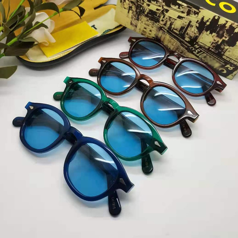 Johnny Depp LEMTOSH Sunglasses Blue Night-Vision Glasses Protective Gears Sun Glasses Polarized Lens Drivers Goggles With Box