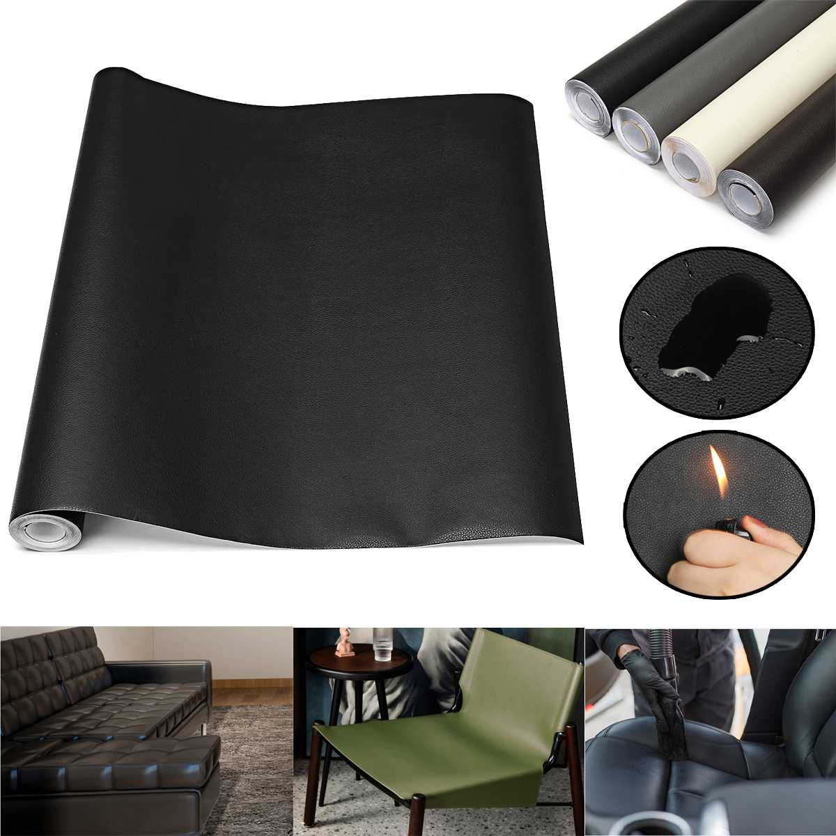 PU Leather Upholstery Fabric Car Leather Sofa Seat Repair Replacement Patch For Sewing Bag Sofa Handmade Material Roll 44*200cm