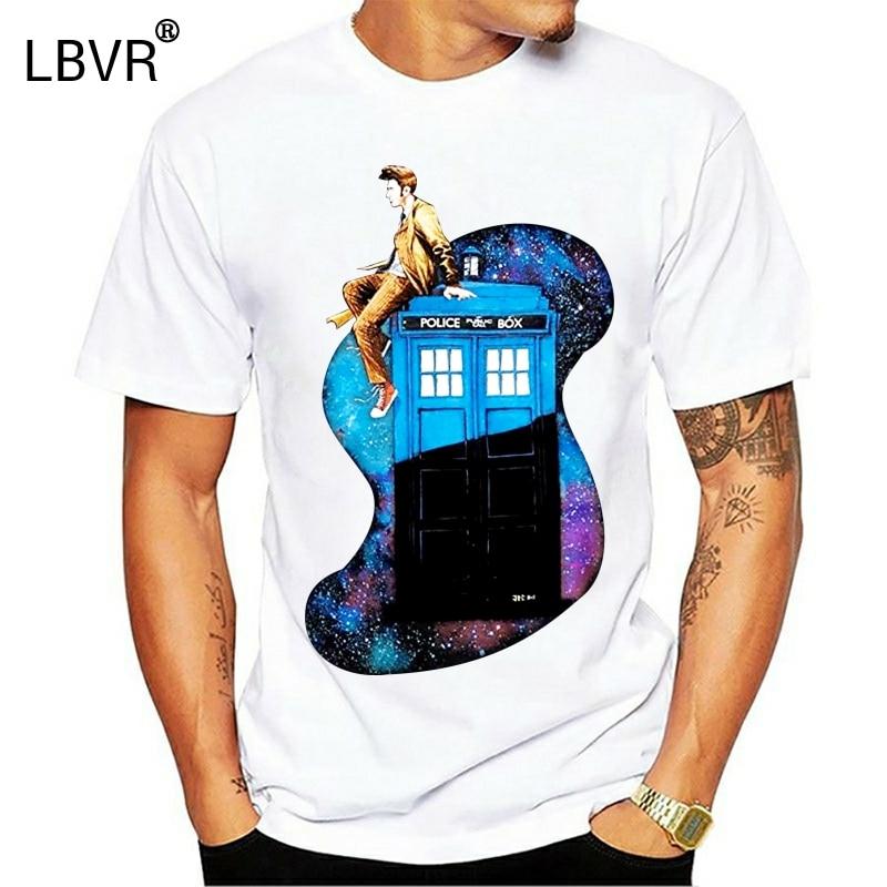 funny t shirts Doctor Who Tenth Doctor   TARDIS Men Cotton T-Shirt
