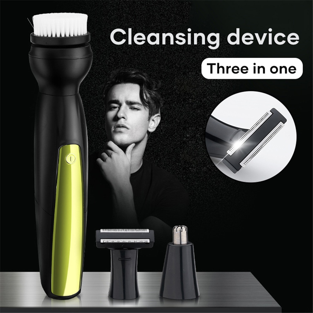 Electric Cleansing Brush Multifunctional Facial Clean Nose Hair Remove Knife Razor Three-in-one Cleaner Skin Care Gifts for Men