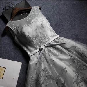 Women's short formal prom evening gray dress print lace grey night party dress Plus size Ceremony Bespoke Occasion Dress