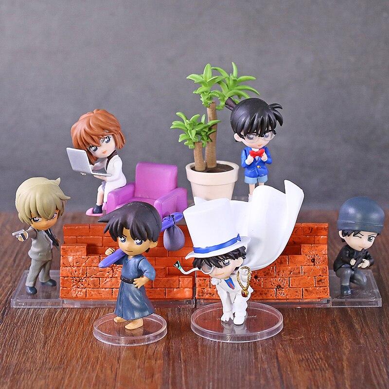 Detektiv Conan 6 teile/satz Sherry Hattori Heiji Mini Action-figuren 1/10 skala painted abbildung Kid Furuya Rei PVC figur Spielzeug anime