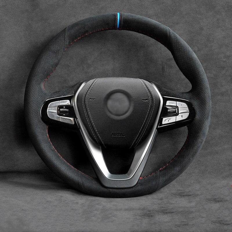 Protector de volante de coche, color negro, para BMW G32 GT 630i 630d 2017-2018 G30 530i 540i 520d 530e 2016-2018