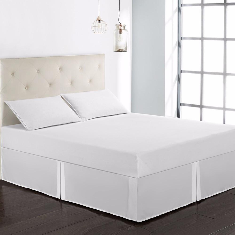 Falda de cama de ajuste fácil de 41 colores puros, banda elástica para Hotel sin superficie para cama, envuelta en polvo de Reina, con volantes, doble/Full/Queen/King