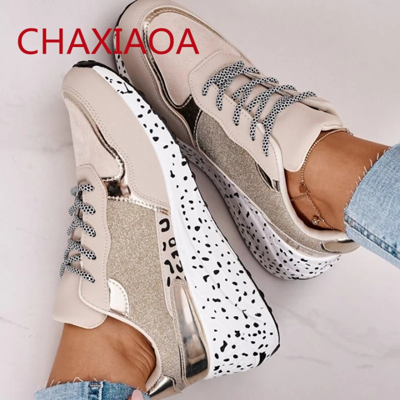 CHAXIAOA Women's Sneakers Casual Platform Shoes Round Toe Lace Up Leopard Prints Footwear Outdoor Sports Sneakers Zapatos Mujer