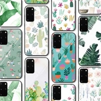 leaf cactus glass case for samsung galaxy a51 s20 a50 a71 a70 s10 s9 s8 a31 a21 a11 m31 s10e a30 note 20 10 9 lite plus ultra