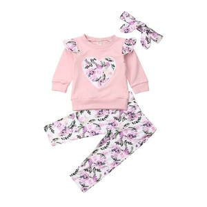 pudcoco Toddler Baby Girls Kids Outfit Flower Long Sleeve T-shirt Tops Pant Headband Autumn Clothes Sets 6 Months to 4 Years