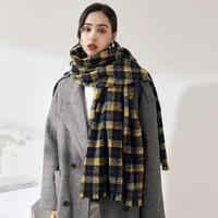 women plaid scarf luxury shawl autumn winter faux cashmere scarves long pashmina korean fashion warm knitted wraps foulard femme