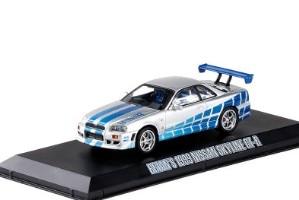Coches ecológicos 1/43 Nissan Skyline GTR R34, edición coleccionable de coches deportivos, coches de metal para coleccionar, regalos de juguetes para niños