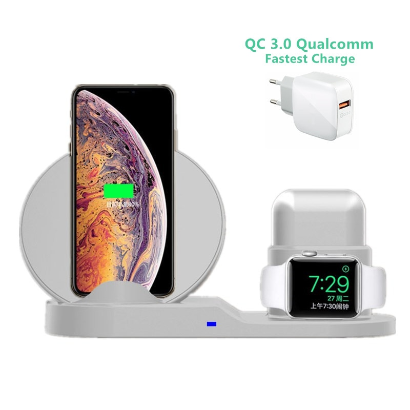 Cargador inalámbrico rápido 3 en 1 10W estación de carga rápida para iPhone XR XS Max 8 para Apple Watch 3 4 5 para AirPods para Samsung
