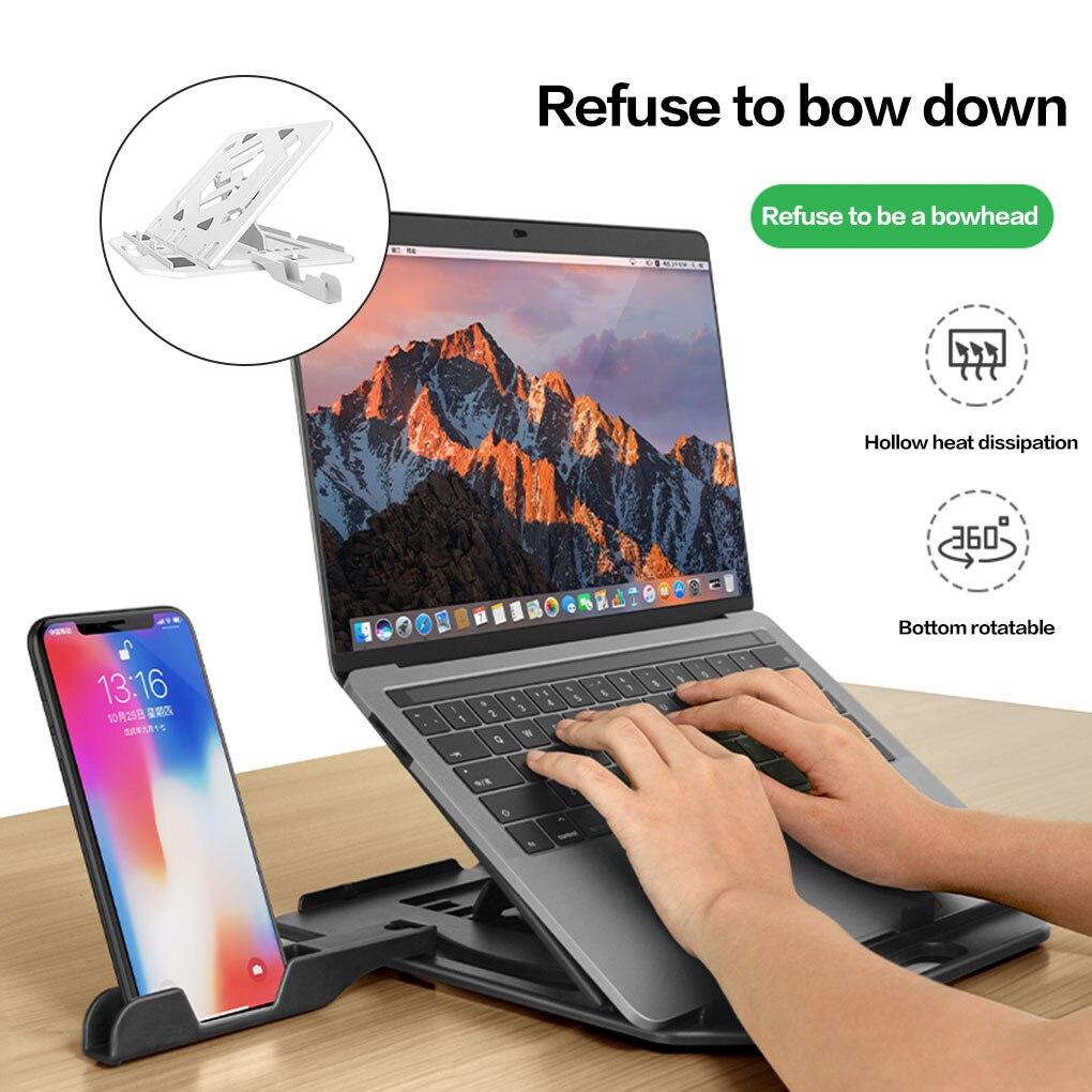 حامل كمبيوتر محمول قابل للتعديل ، بلاستيك ، غير قابل للانزلاق ، للتبريد ، مع حامل هاتف