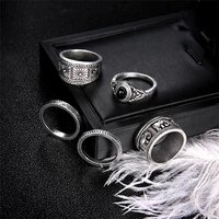 creative black gemstone 5 piece knuckle ring set jewelry accessories