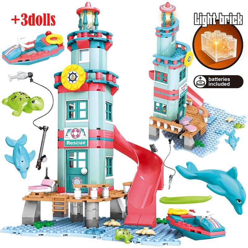 City Girl Beach Hut Friends Building Blocks Water Park Rotate Box Water Beach Slide Figures Bricks Toys For Children Girls