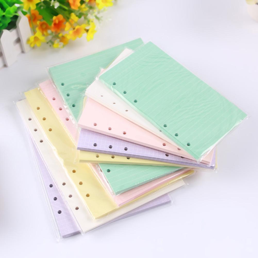 6 agujeros A5 A6 moda coloridos papeles de relleno de hoja suelta cuaderno accesorios Color sólido planificador Inners relleno papeles 40 hojas
