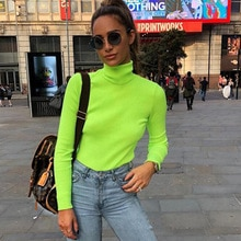 TOPPICK 2019 automne pull femmes noël pull col roulé tricoté pull fluorescéin couleur à manches longues haut Femme