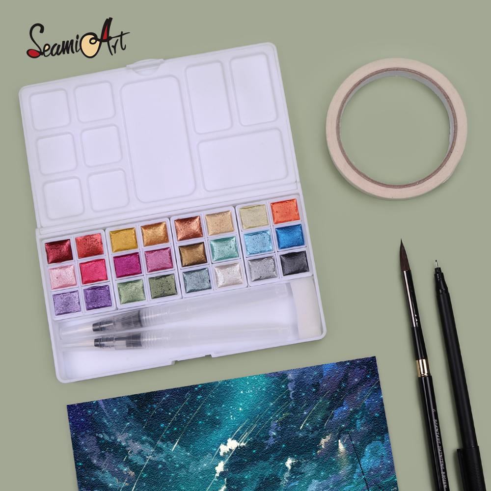 paul rubens 12 24 48 watercolor paint set with metal case solid artist water color painting pigment for drawing art supplies SeamiArt Pearl Watercolor Pigment 24Color Solid Metallic Water Color Paint Set for Drawing illustrations Art Supplies