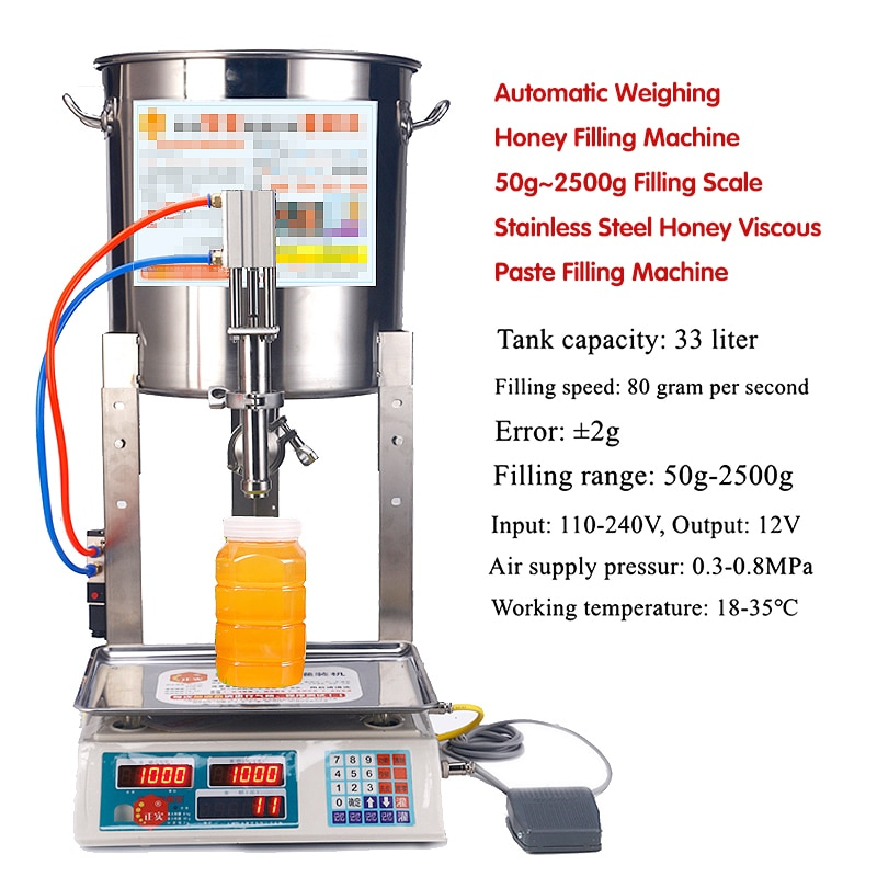 Automatic Weighing Honey Filling Machine 50g~2500g Filling Scale Stainless Steel Honey Viscous Paste Filling Machine