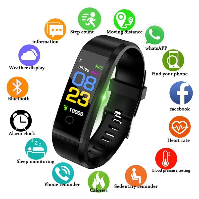 New 115Plus Bracelet Heart Rate Blood Pressure Smart Band Fitness Tracker Smartband Bluetooth Wristband for Fitbits Smart Watch