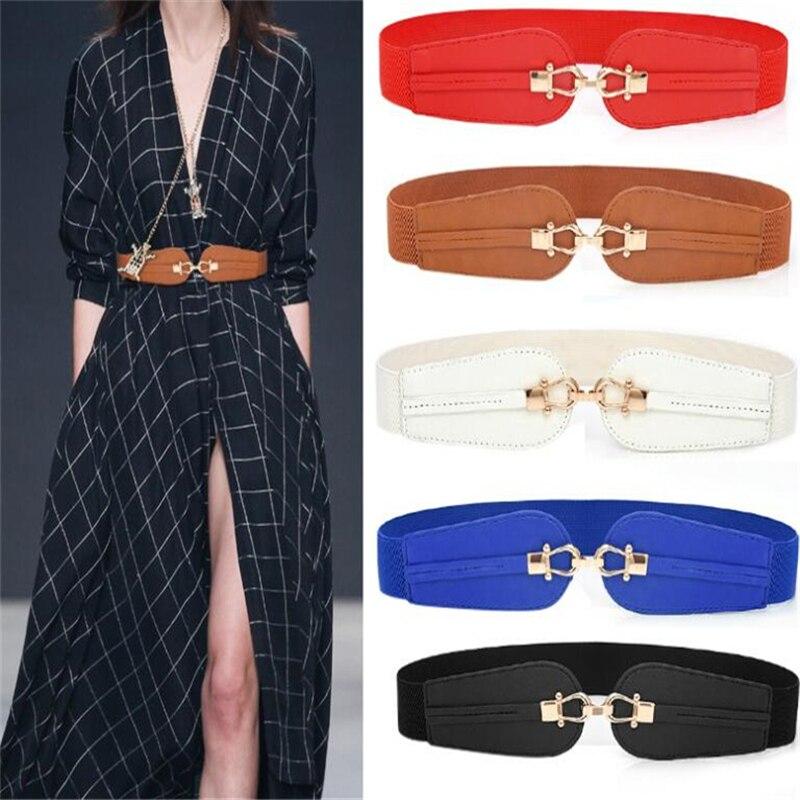 Cintura larga elastica in pelle PU per donna cintura spessa elasticizzata per abito moda donna cinture elasticizzate Plus Size