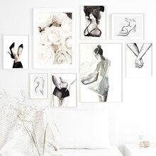 Affiches géométriques abstraites et imprimés nordiques   Toile dart murale, peinture murale, images murales, Sexy, pour décor de salon